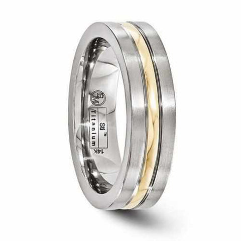 Image of Edward Mirell Titanium And 14K Brushed & Polished Ring - 6mm - Rings - Aydins_Jewelry
