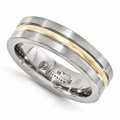 Edward Mirell Titanium And 14K Brushed & Polished Ring - 6mm - AydinsJewelry