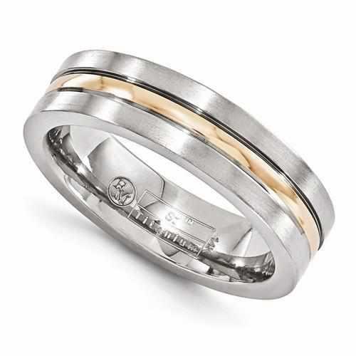 Edward Mirell Titanium And 14k Rose Gold Grooved Band - AydinsJewelry