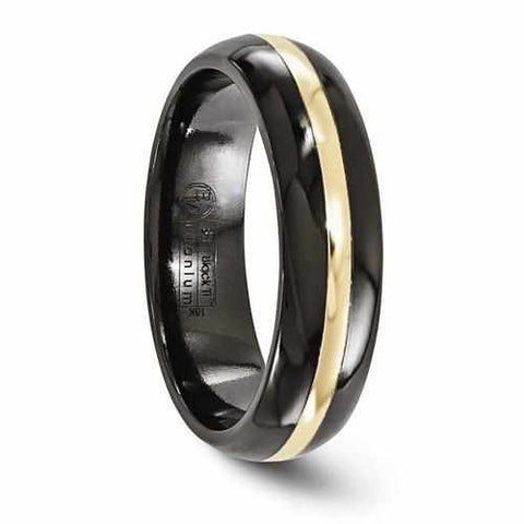 Image of Edward Mirell Black Ti And 14K Domed Ring - 6mm - Rings - Aydins_Jewelry