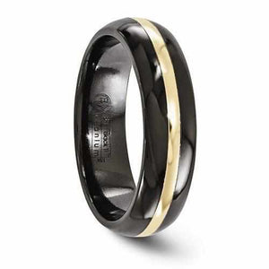 Edward Mirell Black Ti And 14K Domed Ring - 6mm - Rings - Aydins_Jewelry