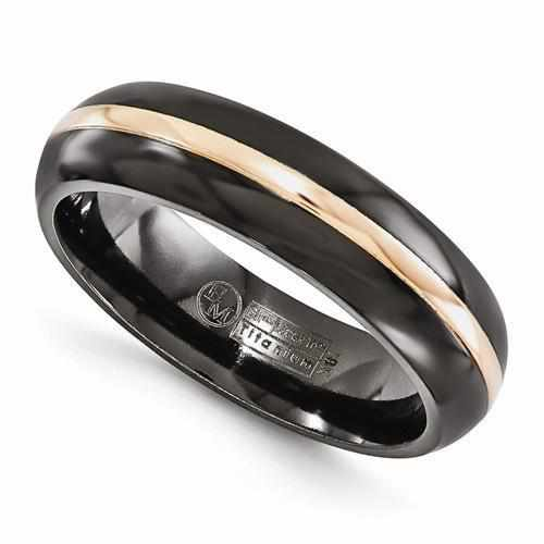 Edward Mirell Black Ti With 14k Rose Gold Domed - 6mm - AydinsJewelry