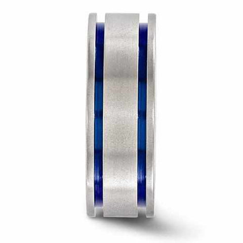 Image of Edward Mirell Titanium Double Groove Blue Anodized Band - 8mm - Rings - Aydins_Jewelry
