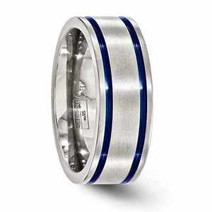 Edward Mirell Titanium Double Groove Blue Anodized Band - 8mm - Rings - Aydins_Jewelry
