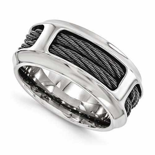 Edward Mirell Titanium & Stainless Steel Cable Ring - 11mm - Rings - Aydins_Jewelry