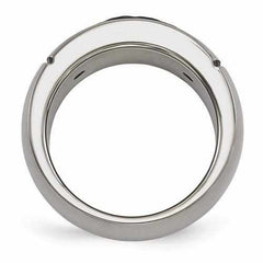 Edward Mirell Titanium Brushed Cable And 18k Rivet Ring - 9mm - AydinsJewelry