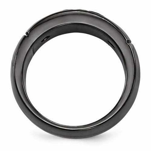 Image of Edward Mirell Black Ti Cable & Spinel Sterling Silver Bezel Ring - 9mm - Rings - Aydins_Jewelry