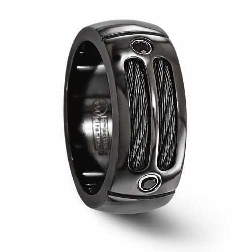 Edward Mirell Black Ti Cable & Spinel Sterling Silver Bezel Ring - 9mm - Rings - Aydins_Jewelry