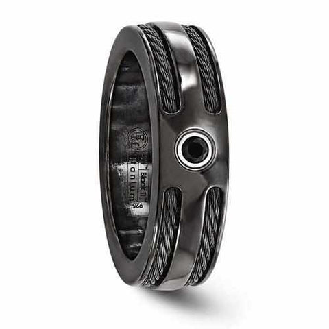 Image of Edward Mirell BlackTi Cable Black Spinel w/ Sterling Silver Bezel - 7mm - Rings - Aydins_Jewelry