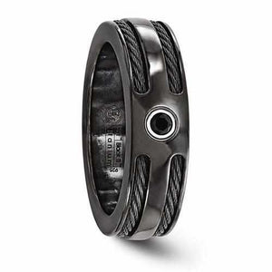 Edward Mirell BlackTi Cable Black Spinel w/ Sterling Silver Bezel - 7mm - Rings - Aydins_Jewelry