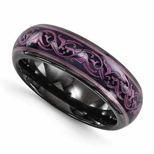 Edward Mirell Black Ti Domed Anodized Purple Ring - 6mm - AydinsJewelry