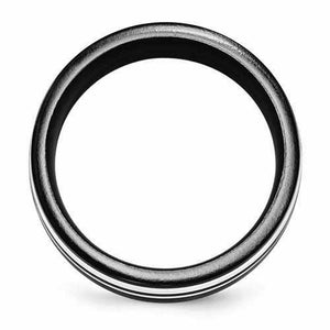 Edward Mirell Black Ti & Sterling Silver Ring - 9mm - Rings - Aydins_Jewelry