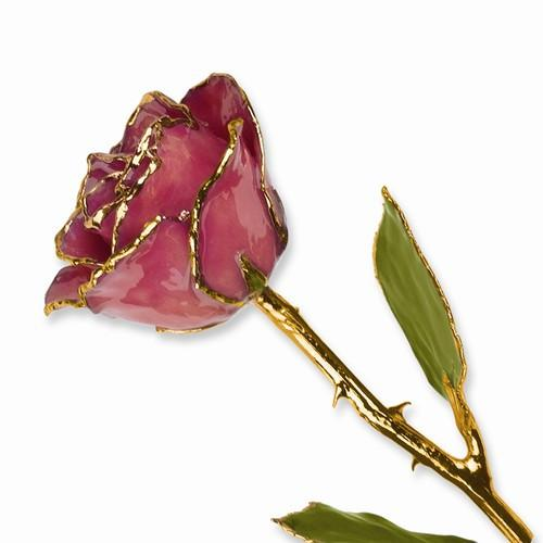Lacquer Dipped Gold Trim Dusty Pink Rose - AydinsJewelry