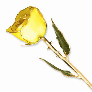 Lacquer Dipped Gold Trim Yellow Rose - AydinsJewelry
