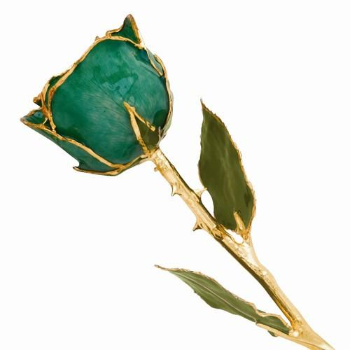 Lacquer Dipped Gold Trim Green Rose - AydinsJewelry
