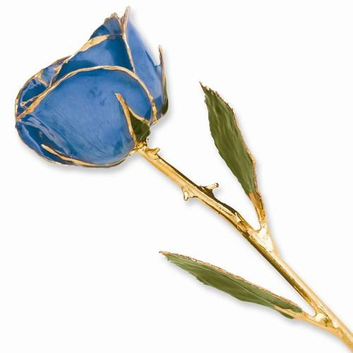 Lacquer Dipped Gold Trim Blue Rose - AydinsJewelry