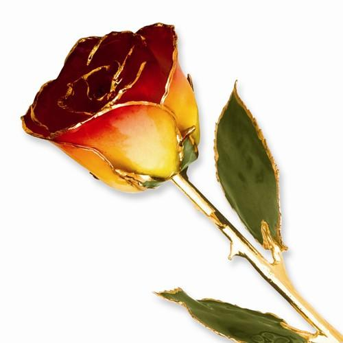 Lacquer Dipped Gold Trim Yellow Red Rose - AydinsJewelry