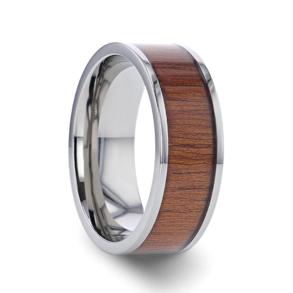 HONUA Flat Titanium Wedding Band with Rare Koa Wood Inlay and Polished Edges - 8 mm