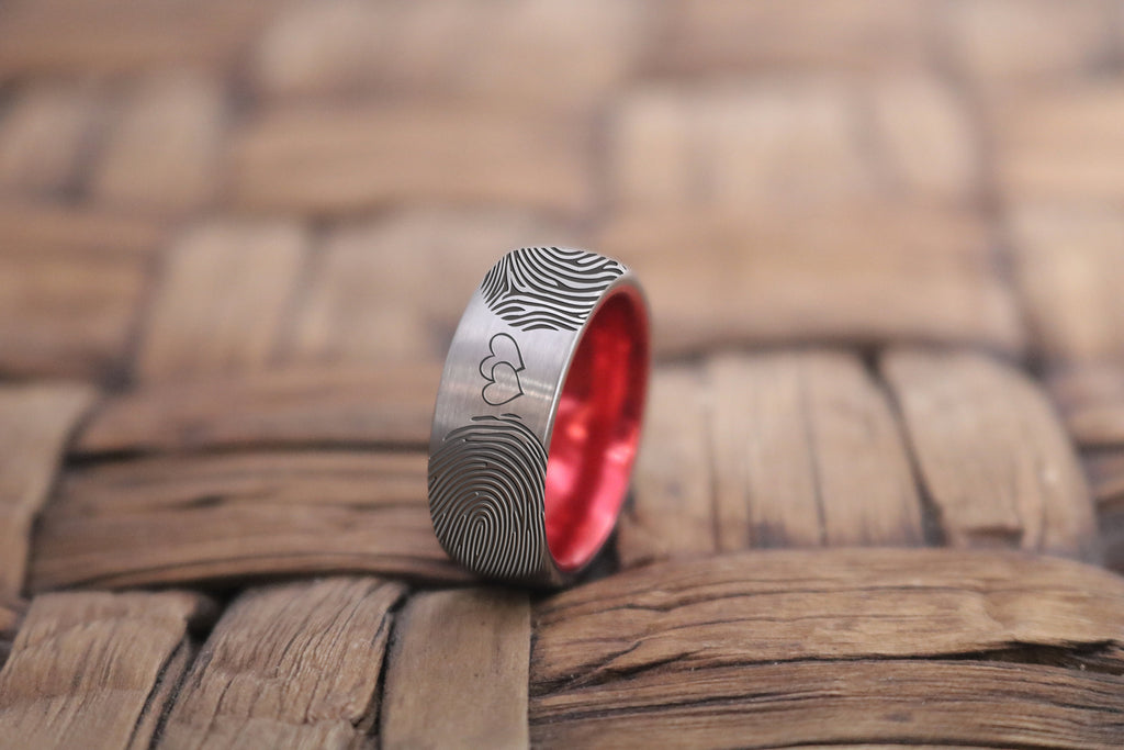 Fingerprint Ring, Actual Fingerprint, Double Heart, Promise Ring, Engraved Ring, Anniversary Ring, Engagement Ring, Tungsten Wedding Band