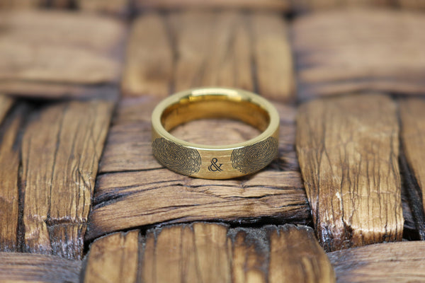 Personalized Ring | Two Fingerprint Ring, Actual Fingerprint, Anchor Symbol, Promise Ring, Engraved Ring, Anniversary Ring, Engagement Ring