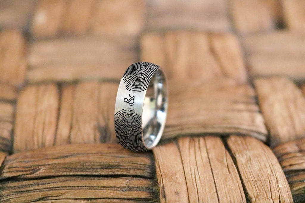 Fingerprint Jewelry | His and Her Fingerprint, Couples Ring, Promise Ring, Plus Engraved Ring, Personalized Ring, Anniversary Ring, Tungsten