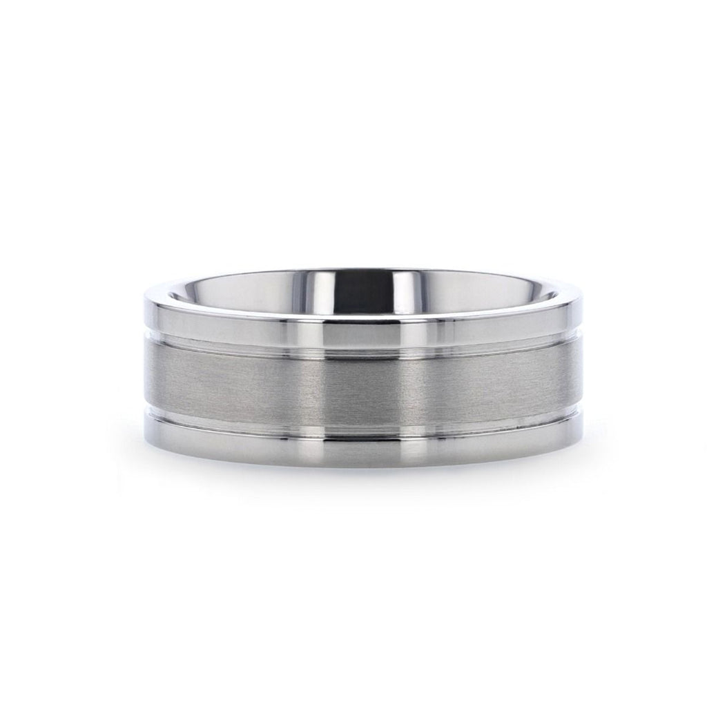 MAGNUM Flat Polished Edge Titanium Band with Offset Grooves and Satin Center - 8 mm