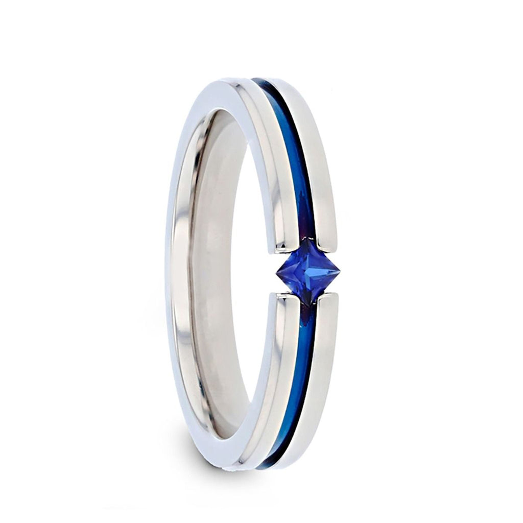 NYMERIA Tension Set Blue Sapphire Titanium Band with Blue Stripe - 4mm