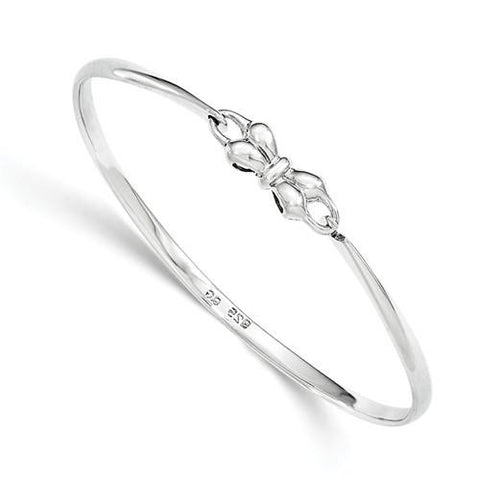 Image of Sterling Silver Bow Baby Bangle Bracelet - AydinsJewelry