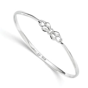 Sterling Silver Bow Baby Bangle Bracelet - AydinsJewelry