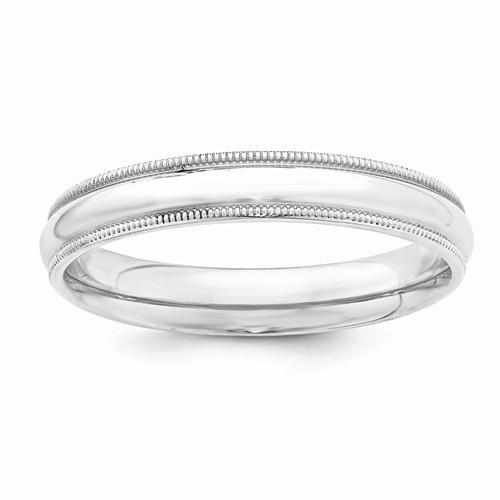 Sterling Silver 4mm Milgrain Comfort Fit Band - AydinsJewelry
