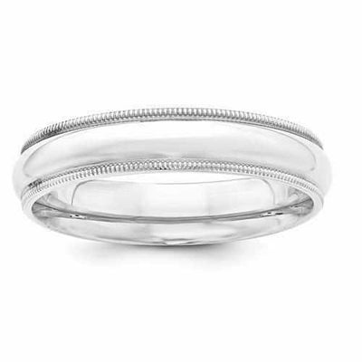 Sterling Silver 5mm Milgrain Comfort Fit Band - AydinsJewelry