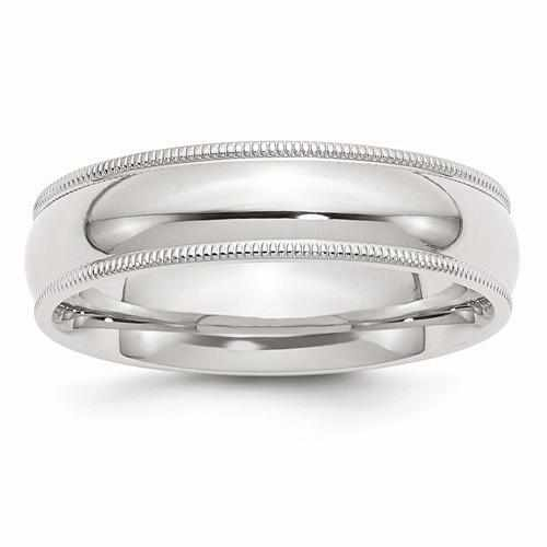 Sterling Silver 6mm Milgrain Comfort Fit Band - AydinsJewelry