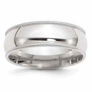 Sterling Silver 7mm Milgrain Comfort Fit Band - AydinsJewelry