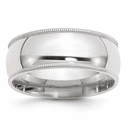 Sterling Silver 8mm Milgrain Comfort Fit Band - AydinsJewelry
