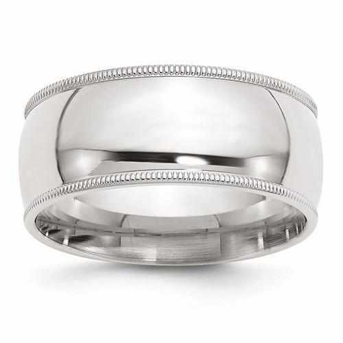 Sterling Silver 9mm Milgrain Comfort Fit Band - AydinsJewelry