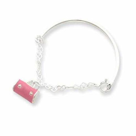 Sterling Silver Pink Enameled Purse Childs Bangle - AydinsJewelry