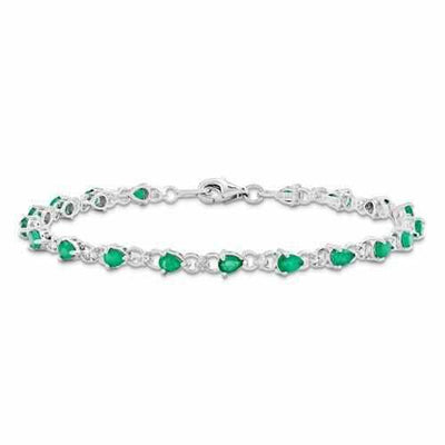Sterling Silver Genuine Emerald And Diamond Bracelet - AydinsJewelry