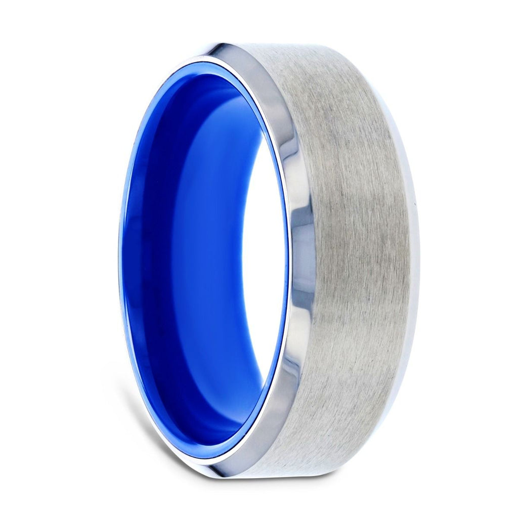 ARCTIC Flat Beveled Edges Titanium Ring with Brushed Center and Vibrant Blue Inside - 8 mm
