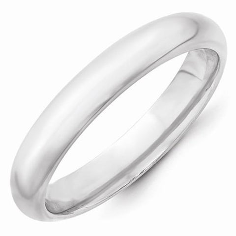 14k White Gold Comfort-Fit Domed Wedding Band for Women Polished Finish - 4MM - Rings - Aydins_Jewelry