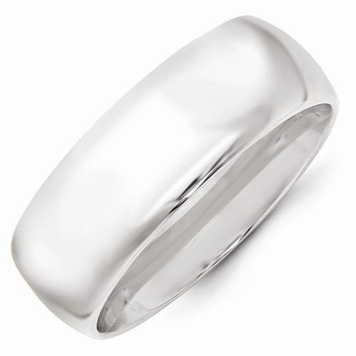 14k White Gold 8mm Standard Comfort Fit Band - AydinsJewelry