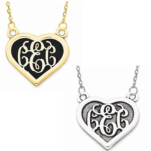 Heart Monogram & Sandblasted Background - AydinsJewelry