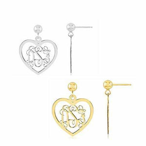 Heart Monogram Earrings - Earring - Aydins_Jewelry