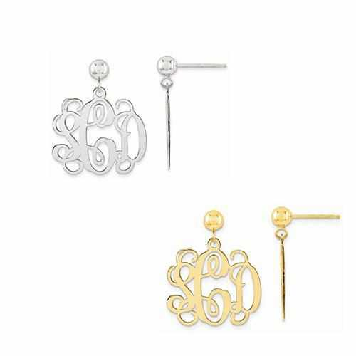 Monogram Polished Post Dangle Earrings - AydinsJewelry