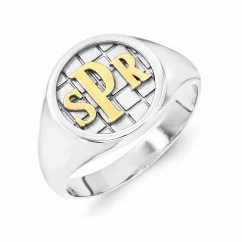 Image of Gold & Silver Accent Monogram Signet Ring - Rings - Aydins_Jewelry