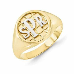 Gold & Silver Accent Monogram Signet Ring - Rings - Aydins_Jewelry