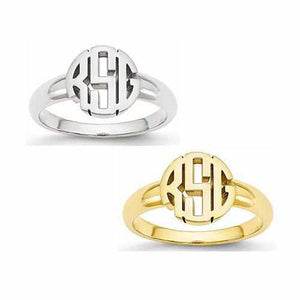 Circle Monogram Signet Ring - Rings - Aydins_Jewelry