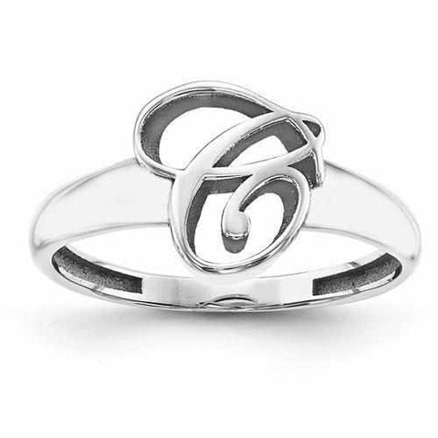 Image of Casted High Polish Initial Ring - Rings - Aydins_Jewelry