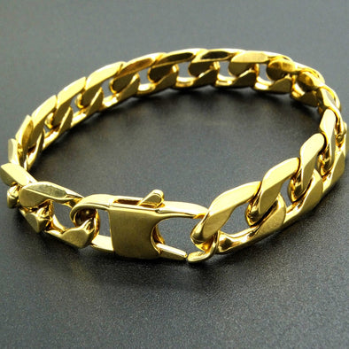 100% Stainless Steel 12 mm 8 Inches Curb Cuban Chain Gold Colour Bracelets