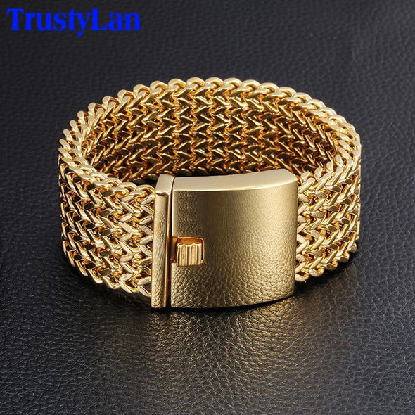30MM Wide Gold Color Thick Never Fade Stainless Steel Bracelet - fingla.com