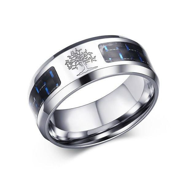 8mm Carbon Fiber Ring Engraved Tree Of Life Stainless Steel Casual Jewelry - fingla.com